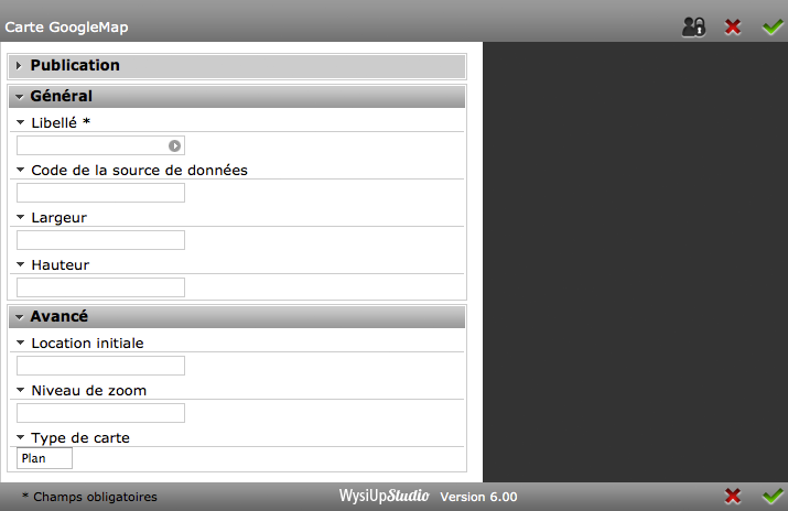 Interface du module